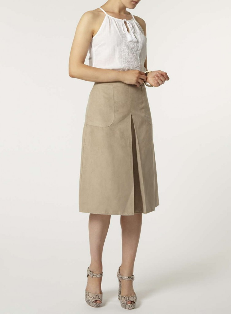 Stone Suedette Midi Skirt     Price: £25.00     Colour: White click to visit Dorothy Perkins