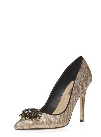 Gold 'Frost' lace court Shoes     Price: £29.00 click to visit Dorothy Perkins