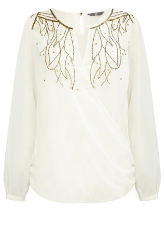 Cream & Gold Wrap Blouse     Price: £28.00 Click to visit BHS