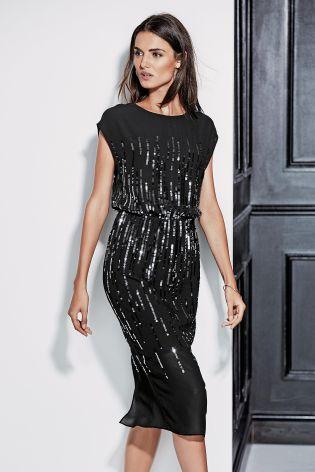 Black Sequin Ombré Dress £60 Click to visit Next