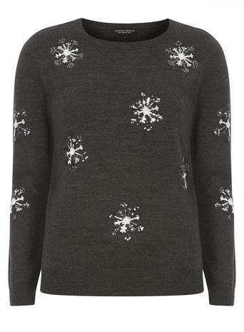 Charcoal Sequin Snowflake Jumper     Price: £26.00     Colour: Grey click to visit Dorothy Perkins