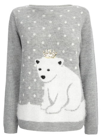 Grey Fluff Polar Bear Jumper     Was £25.00 Now £17.50 click to visit BHS