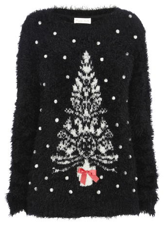 Black Fluffy Christmas Tree Jumper     Was £28.00 Now £19.60 click to visit BHS