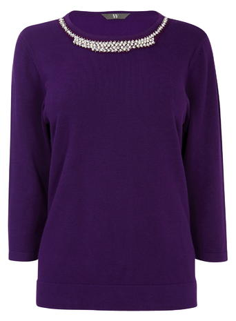Purple Gem Neck Jumper     Was £28.00 Now £19.60 Click to visit BHS
