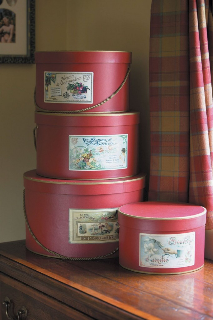Set of 4 Red Hat Boxes with Cream Lining, Gold Cord and Old French Adverts to the front. 23cm, 28cm, 30cm and 35cm £49.95 Click to visit Amazon