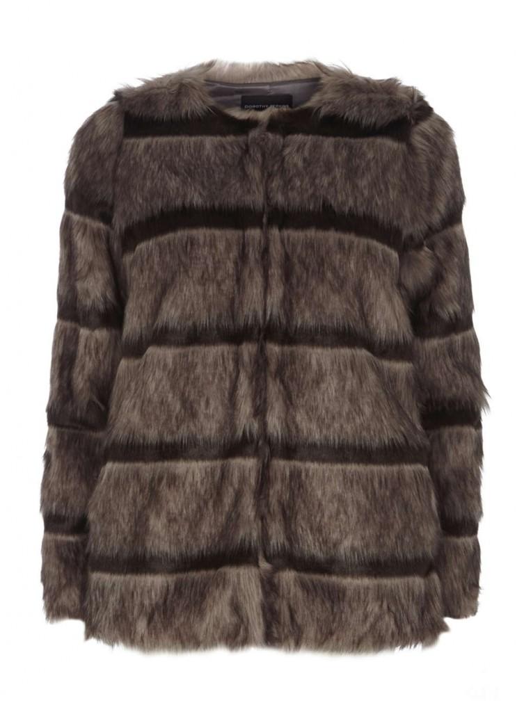 Brown Stripe Faux Fur Coat     Price: £59.00 click to visit Dorothy Perkins