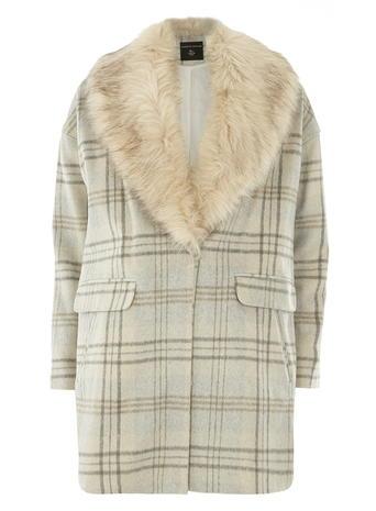 Check Fur Collar Coat     Price: £75.00 click to visit Dorothy Perkins