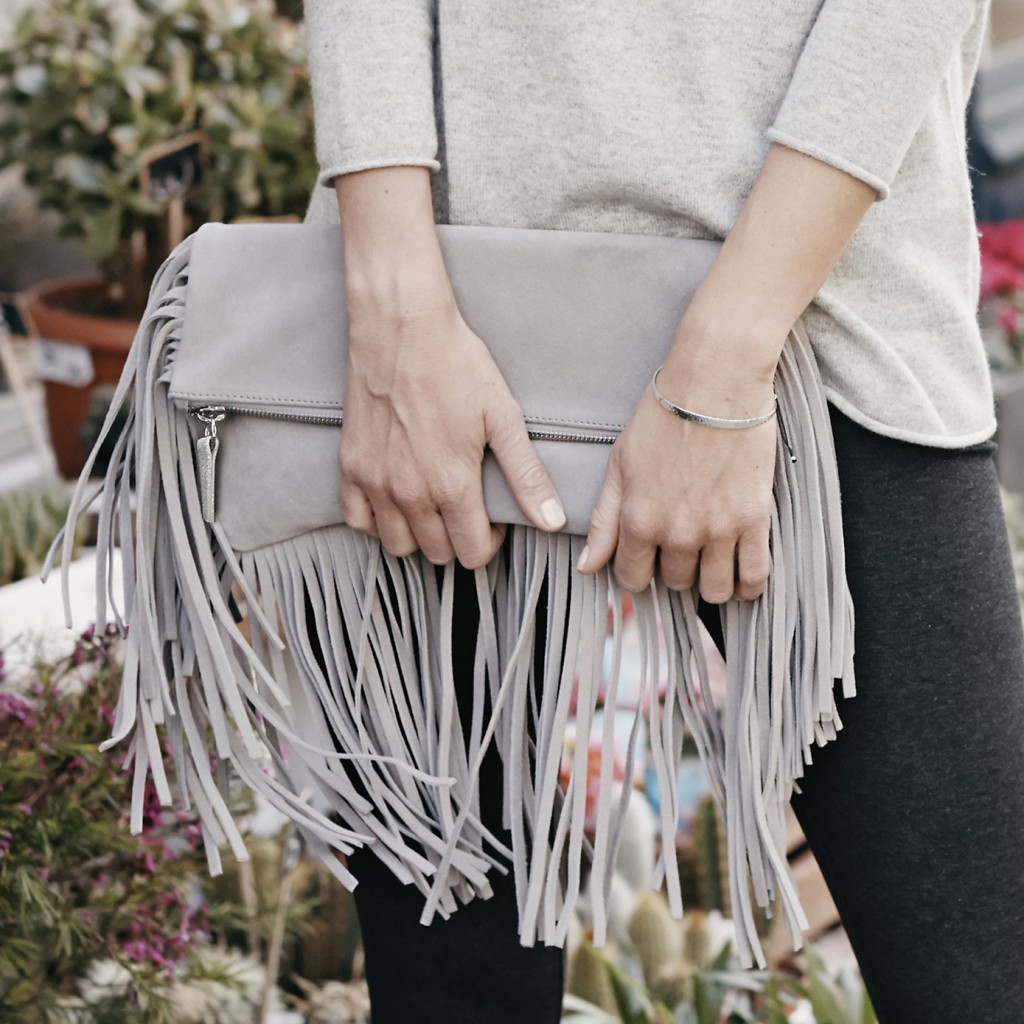 Fringe Clutch - stone £129.00 Click to visit The White Company