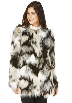 F&F Monochrome Faux Fur Patchwork Jacket £39 Click to visit F&F Clothing