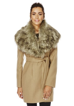 F&F Faux Fur Collar Belted Wrap Coat £39 click to visit F&F Clothing