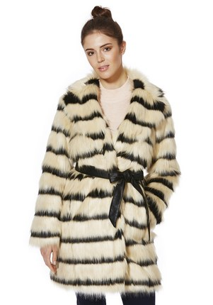 F&F Striped Faux Fur Coat £45 click to visit F&F Clothing
