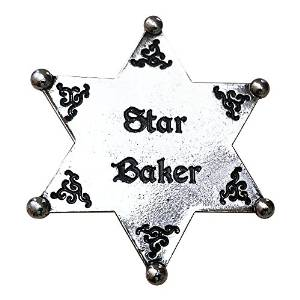 Star Baker. Bake Off Silver Tone Sheriff Badge. Cup Cake Backing Card £5.99 click to visit Amazon