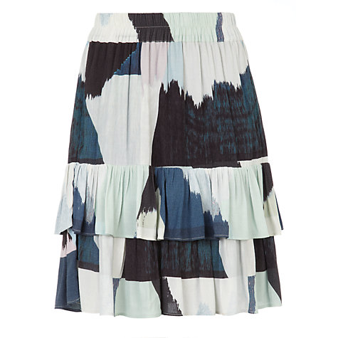 BZR Mally Abstract Print Skirt, Blue £89 Click to visit John Lewis