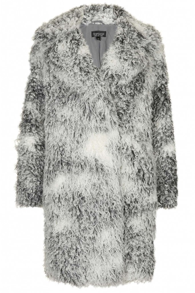 Curly Faux Fur Double Breasted Coat     Price: £95.00 Click to visit Topshop
