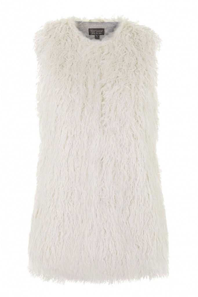Crinkled Faux Fur Gilet     Was £65.00     Now £35.00 Click to visit Topshop