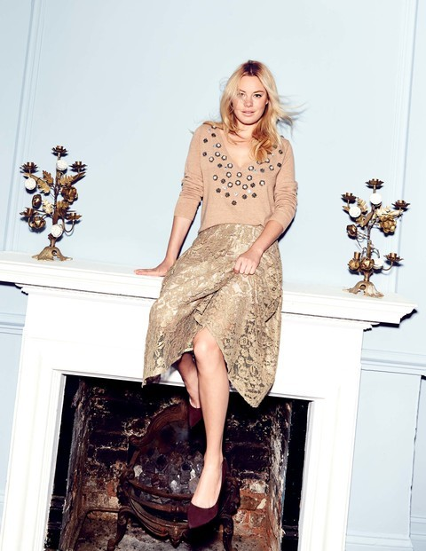 Luxe Lace Skirt  Was £149.00 Now £111.75  Click to visit Boden Relaxed Embellished V Jumper  Was £99.00  Now £59.40  Click here to visit Boden