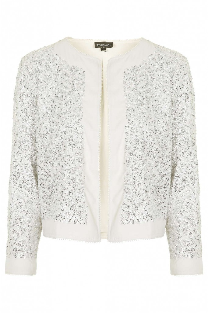 Sequin Embellished Jacket     Price: £65.00 Click to visit Topshop