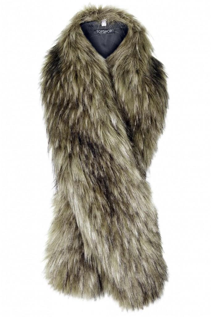 Faux Fur Tonal Stole     Price: £28.00 Click to visit Topshop