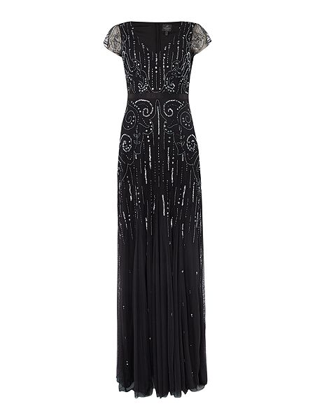 Adrianna Papell Cap sleeve V neck gown with sequin pattern £119 Click to visit House of Fraser