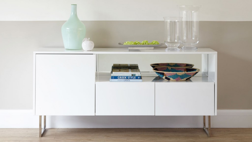 Reflect White Gloss and Chrome Sideboard £649 Click to visit Danetti