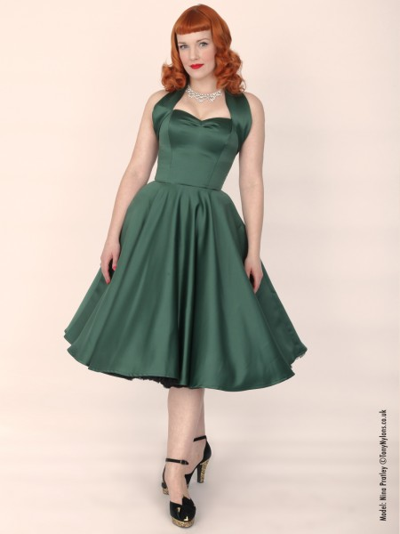 1950s Halterneck Dark Green Duchess Dress £99 Click to visit Vivien of Holloway