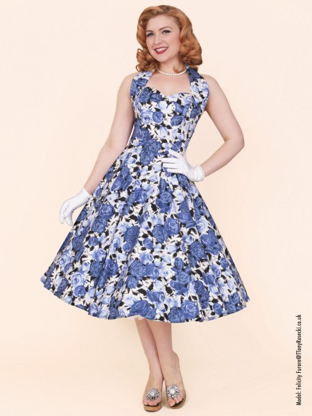 1950s Halterneck Wild Rose Royal Dress £89.00 Click to visit Vivien of Holloway