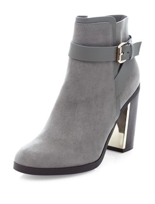 Grey Buckle Strap Block Heel Ankle Boots £29.99 Click to visit New Look