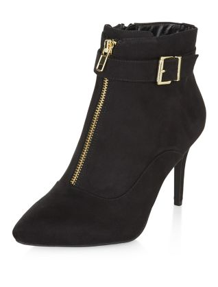 Wide Fit Black Zip Front Heeled Boots Now £17.99 Click to visit New Look