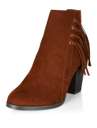 Tan Suedette Tassel Side Block Heel Ankle Boots Now £17.99 Click to visit New Look