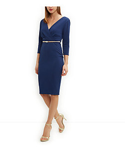 Navy Belted Wrap Bodycon Dress £24.99 Click to visit New Look