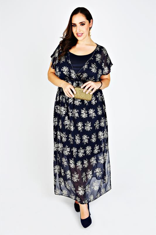 SCARLETT & JO Midnight Blue & Gold Foil Chiffon Maxi Dress Product Code: 55690 £70.00  Click to visit Yours Clothing