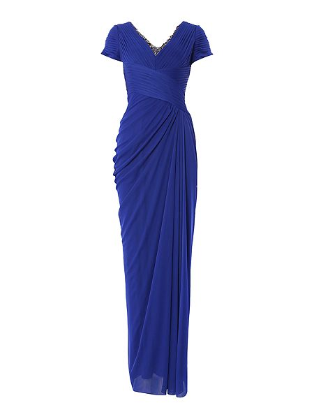 Adrianna Papell Cap sleeve gown with beaded V neck now £68 Click to visit House of Fraser