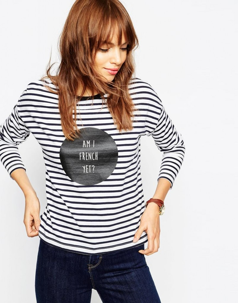 ASOS Striped Tee With Am I French Yet Slogan £16.00 Click to visit ASOS