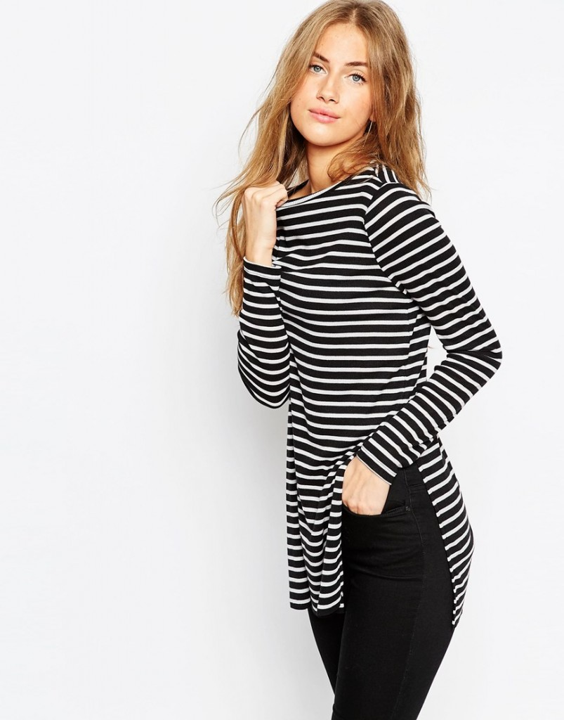 ASOS Longline Top In Stripe With Side Splits and Long Sleeves £18.00 Click to visit ASOS