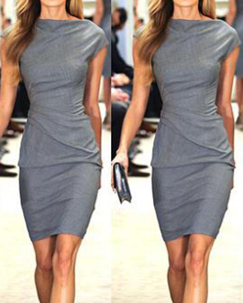 Work Style Round Neck Short Sleeve Solid Color Dress £5.18 Click to visit Sammydress