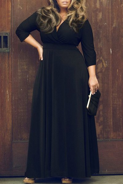Sexy Plunging Neckline 3/4 Sleeve Solid Color Plus Size Dress £8.61 Click to visit Sammydress