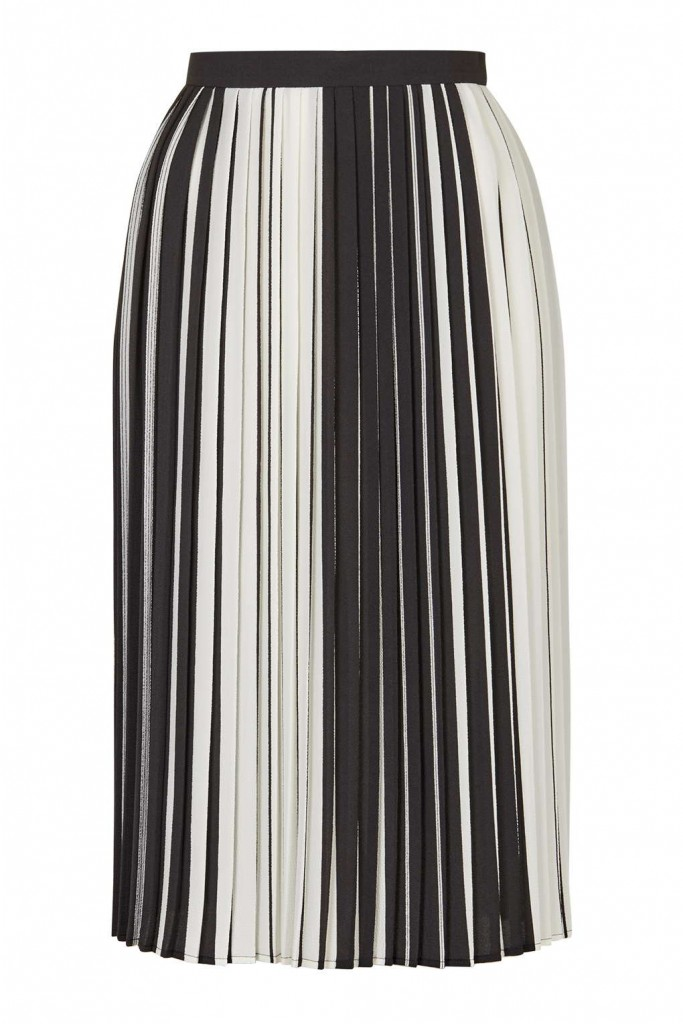 Monochome Stripe Pleated Midi Price: £55.00 Click to visit Topshop