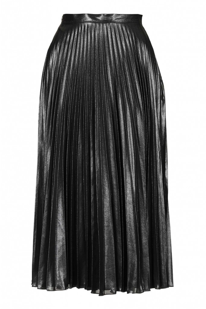 TALL Metallic Pleat Midi Skirt Price: £55.00 Click to visit Topshop