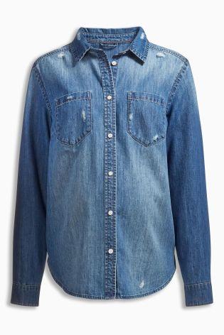 Mid Blue Denim Shirt £26 Click to visit Next