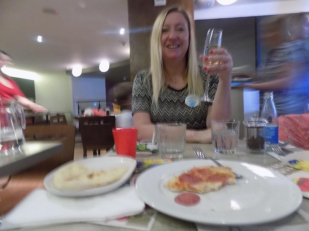Enjoying a glass of fizz