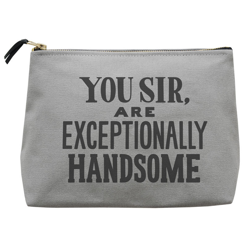 """""""Exceptionally Handsome"""" Wash Bag £22 Click to visit Postboxed"""
