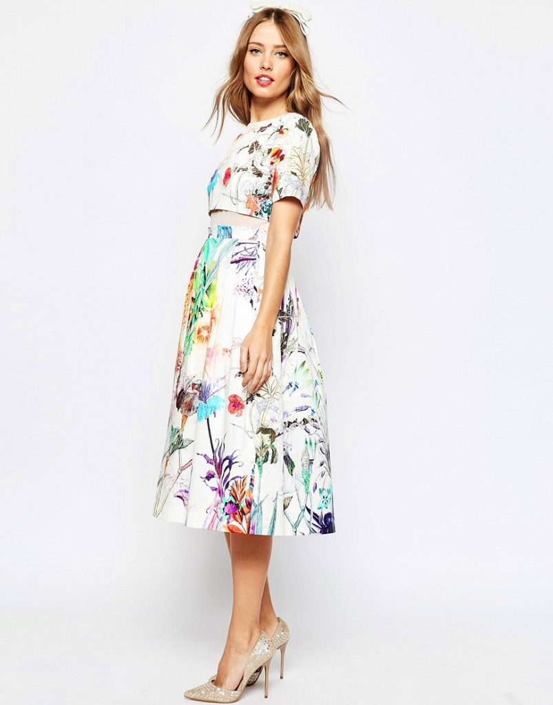 ASOS WEDDING Crop Top Midi Prom Dress In Floral Print £70.00 Click to visit ASOS