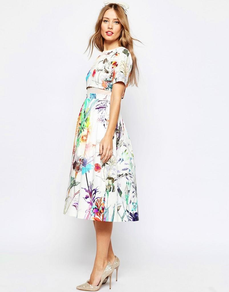 ASOS WEDDING Crop Top Midi Prom Dress In Floral Print £70.00 Click to visit ASOS