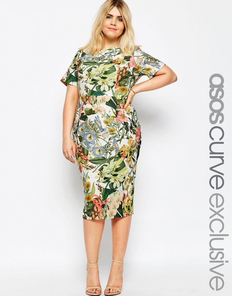 ASOS CURVE Wiggle Dress in Garden Floral Print £55.00 Click to visit ASOS