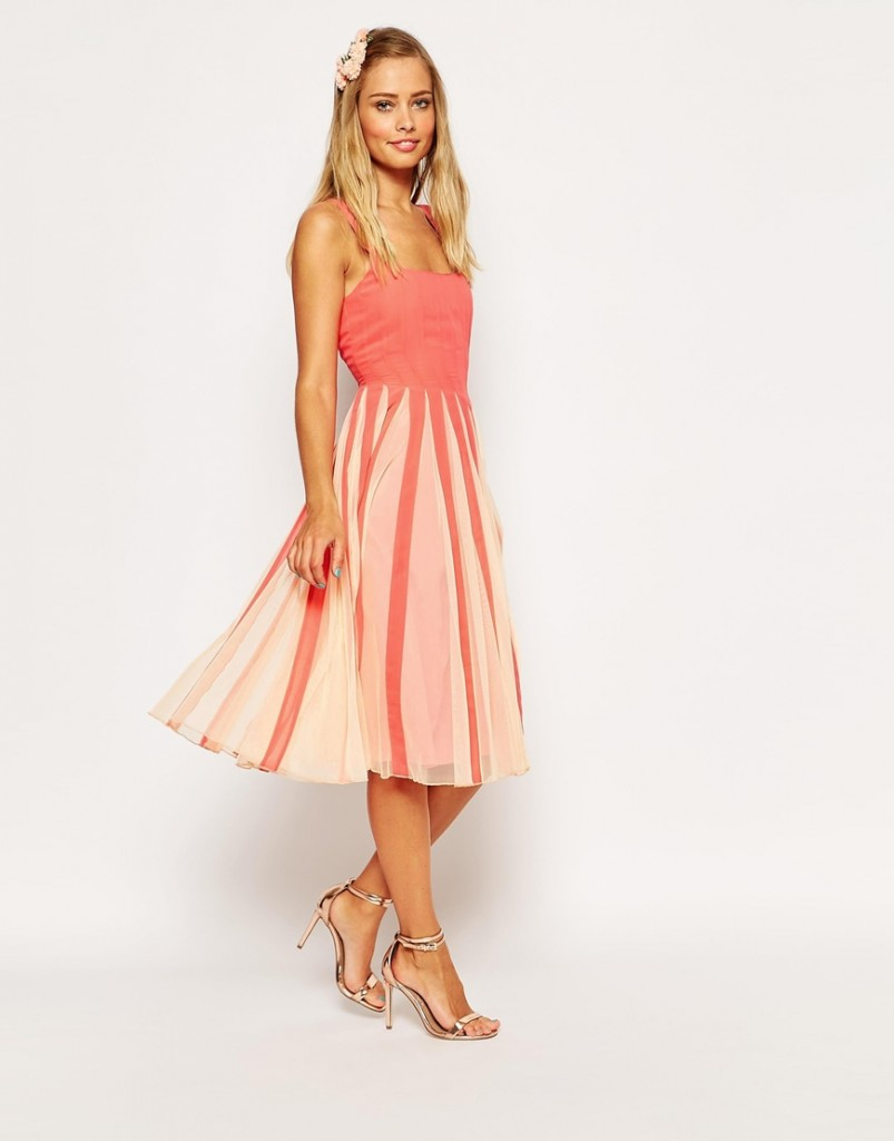 ASOS Mesh Insert Square Neck Fit And Flare Midi Dress now £17.00 Click to visit ASOS