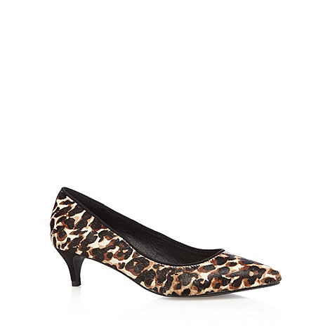 J by Jasper Conran Designer black leather leopard pony hair textured court shoes now £24.50 Click to visit Debenhams