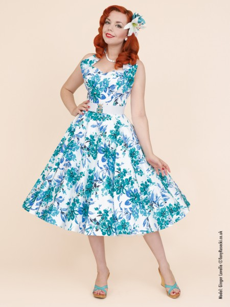 1950s Halterneck Blue Orchid Dress £99.00 Click to visit Vivien of Holloway