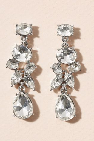 Silver Tone Jewel Drop Earrings £8 Click to visit Next