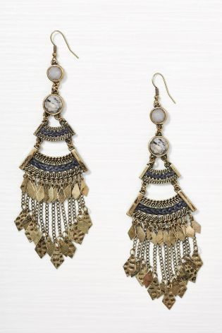 Gold Tone Antique Drop Earrings £10 Click to visit Next