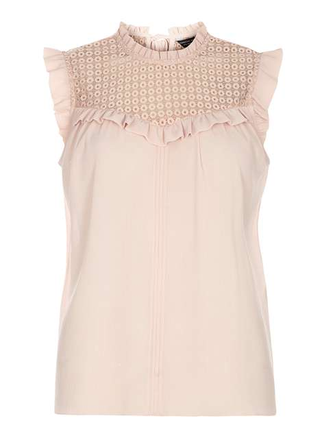 Blush Lace Mix Sleeveless Top Price: £24.00 Click to visit Dorothy Perkins